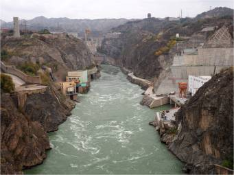 Hydroelectric dam on the Yellow River, China.