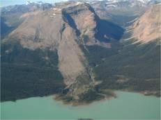 Rockslide in Rocky Mountans, Jasper National Park, Alberta, Canada.
